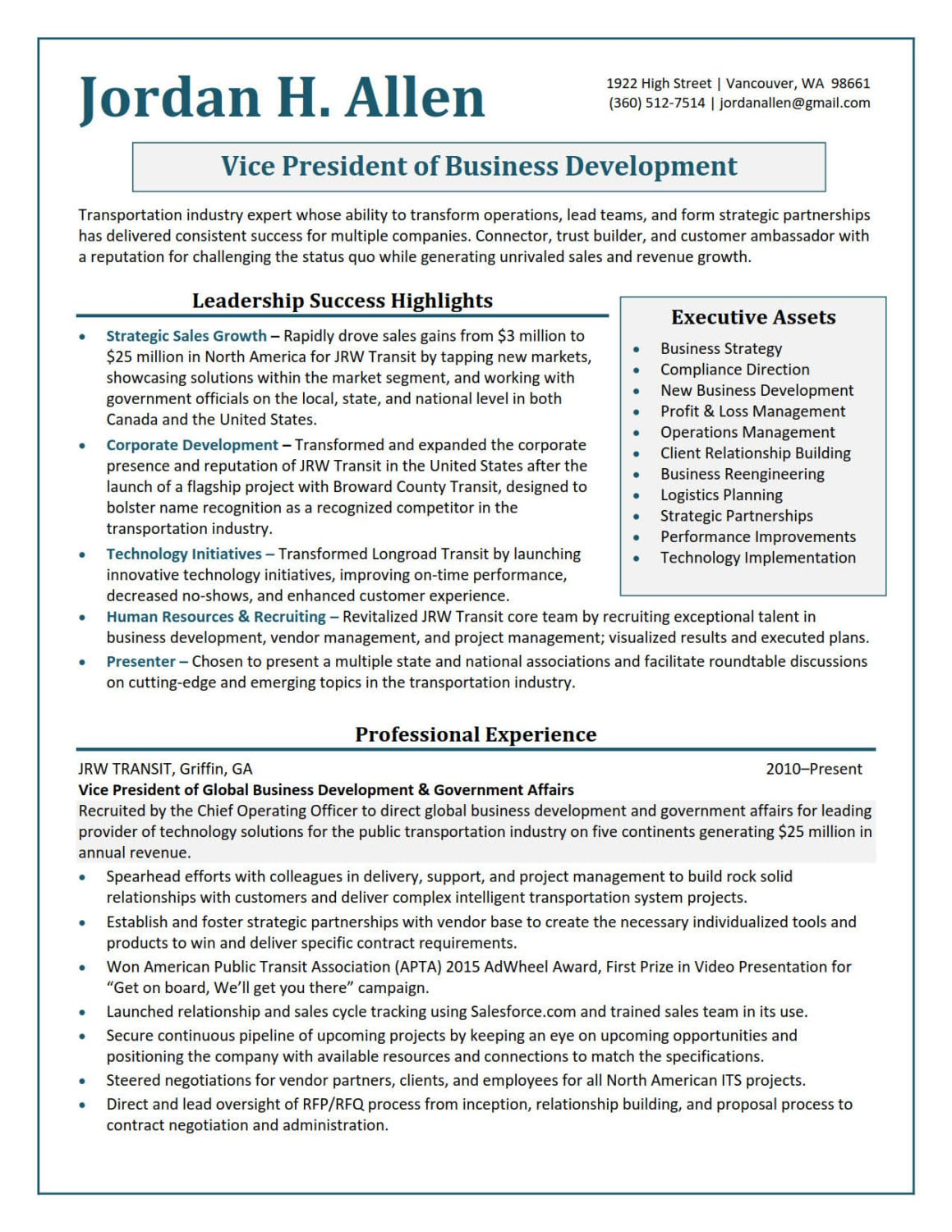 Vice-President-Business-Development Resume Samples