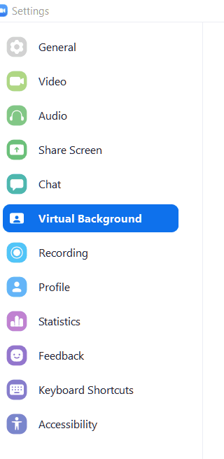 Settings Zoom virtual background